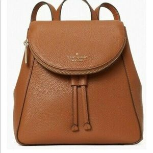 Kate Spade Leila Brown Pebbled Leather Flap Backpack